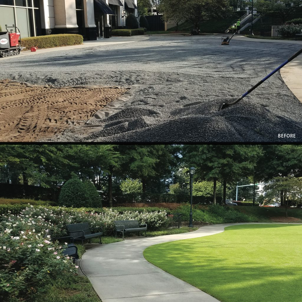 before and after view of Southpark Piedmont Town Center work