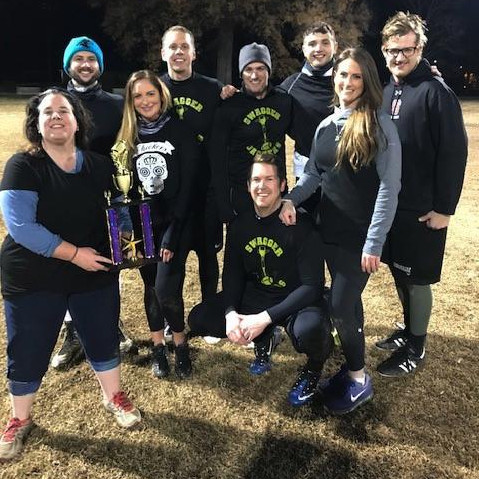 The CJS flag football team smiles after the game.